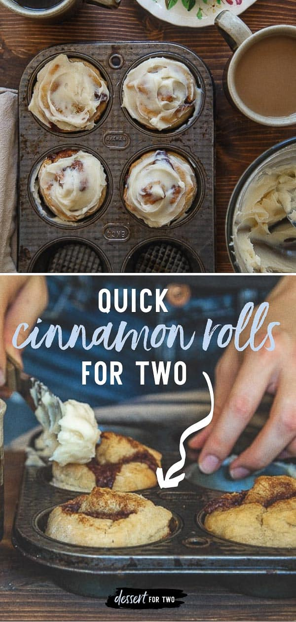 Small batch cinnamon rolls for two. Quick and easy cinnamon roll recipe made without yeast! Recipe makes just 4 cinnamon rolls for two.