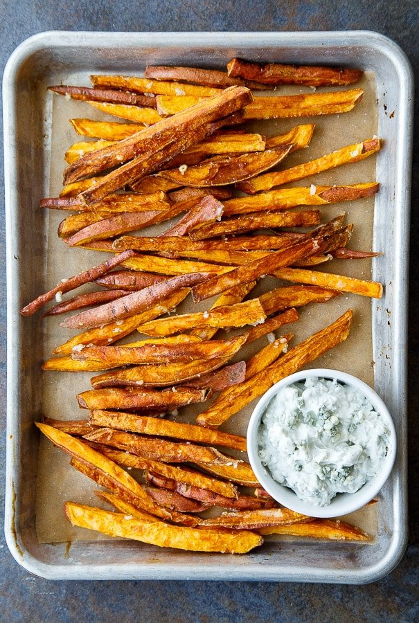 The crispiest fried sweet potato fries. Finally, sweet potatoes at home that are actually CRISPY! @dessertfortwo