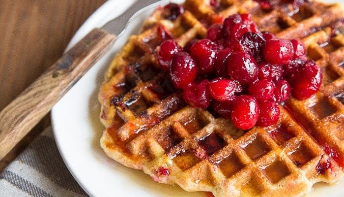 Cranberry-Cornmeal-Waffles