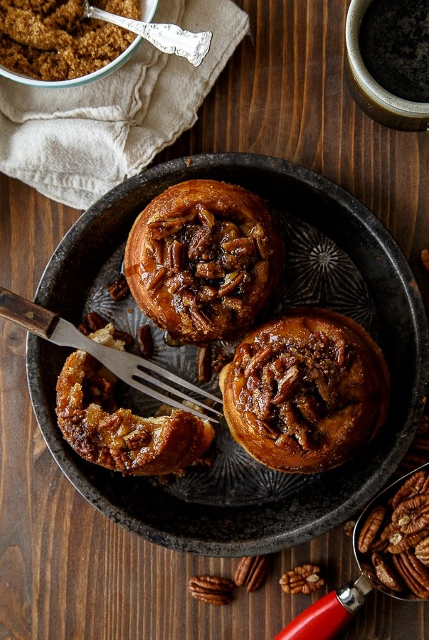 A small batch (4) of pecan sticky buns @dessertfortwo