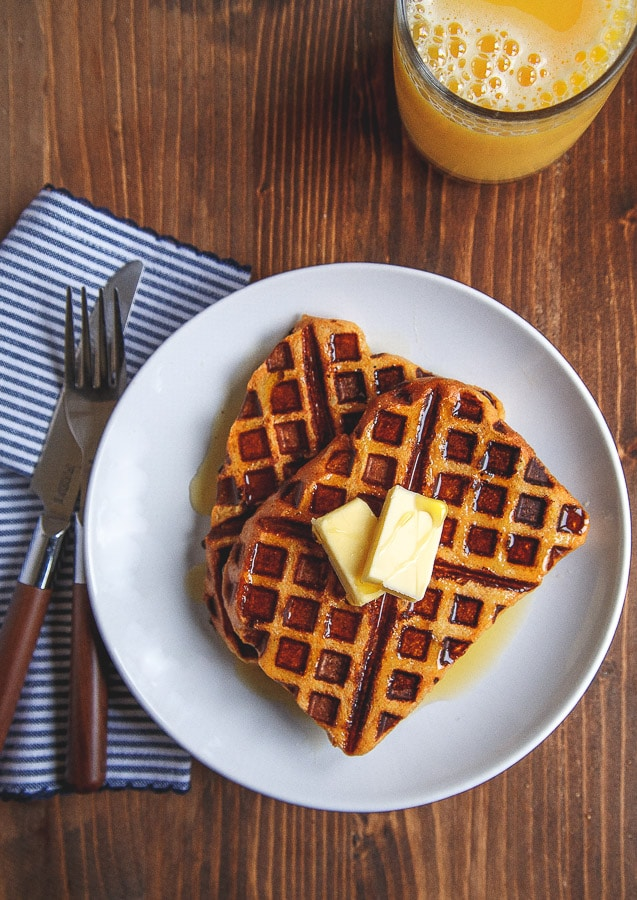 Easy pumpkin french toast made in the waffle iron @dessertfortwo