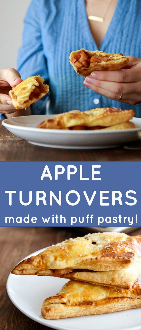 Apple turnover recipe made with one sheet of puff pastry, apples, brown sugar and spices. Recipe makes just 4 apple turnovers. #apple #appledessert #appleturnovers #turnovers
