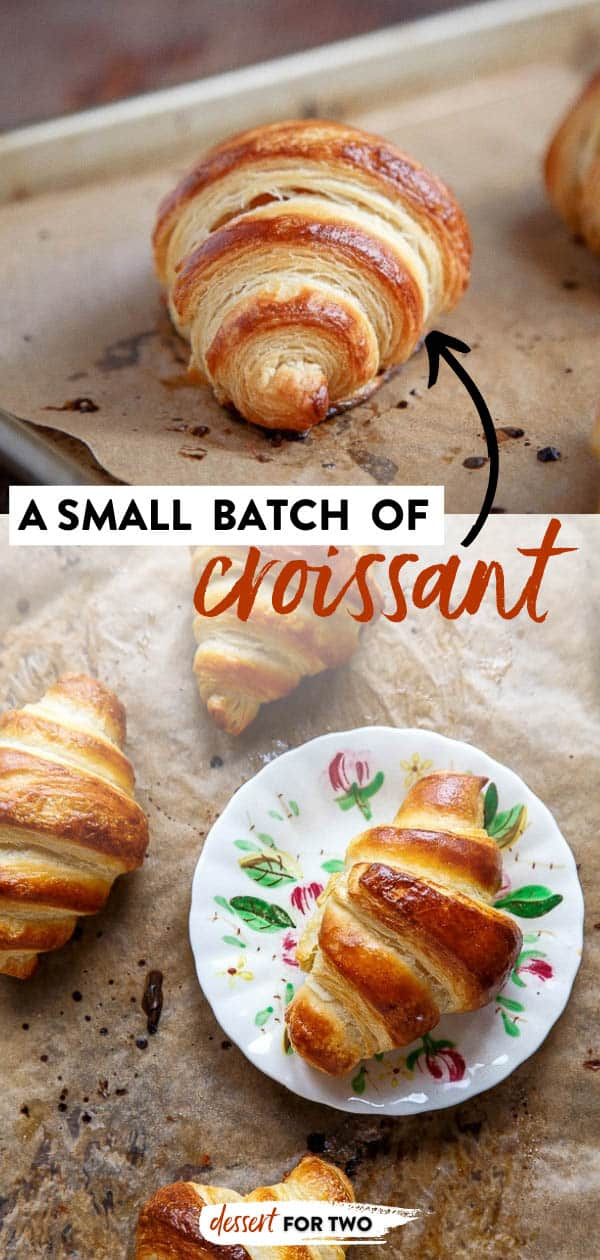 Croissant recipe: A small batch of homemade croissants. Recipe steps broken up over 3 days, so it's totally do-able! #croissant #croissants #homemadecroissants #croissantrecipe #frenchbread #frenchfood #french #baking, #yeast #dough #butter