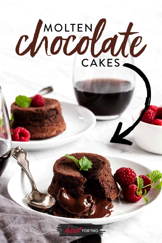 Chocolate lava cake recipe on white plate with raspberries.
