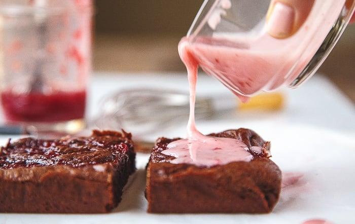 Strawberry jam brownies with strawberry glaze