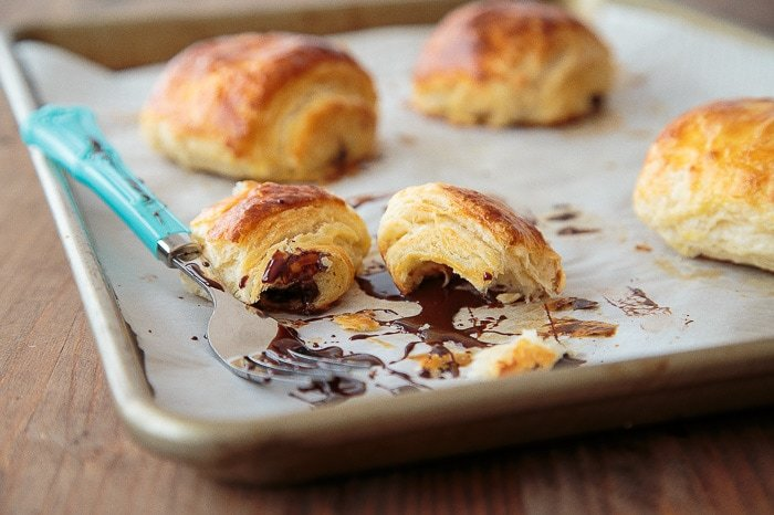 Classic croissants rolled up with chocolate.