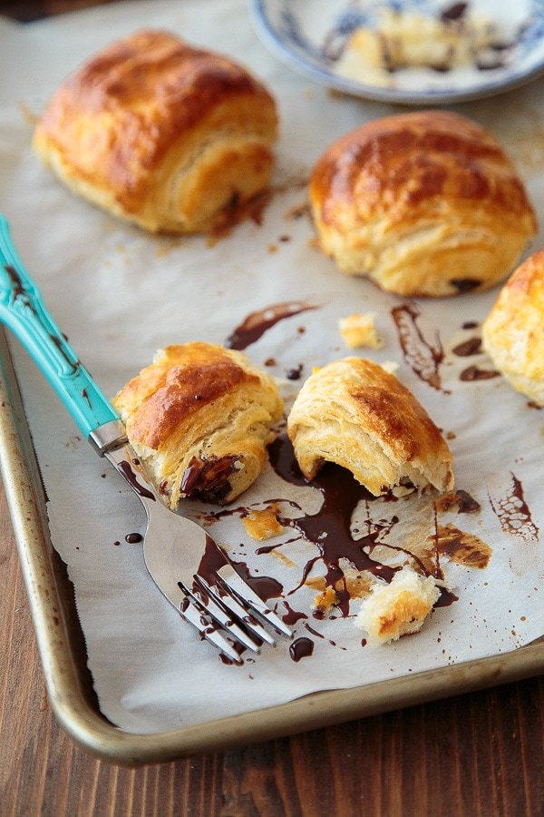 Chocolate Croissants: small batch recipe with easy to follow steps @dessertfortwo