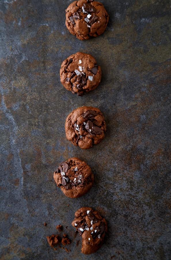 Chocolate Chocolate Chunk Cookies @dessertfortwo