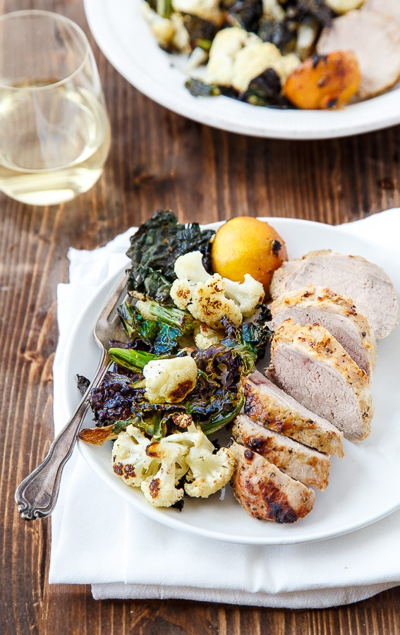 Easy honey mustard pork tenderloin with crispy roasted vegetables