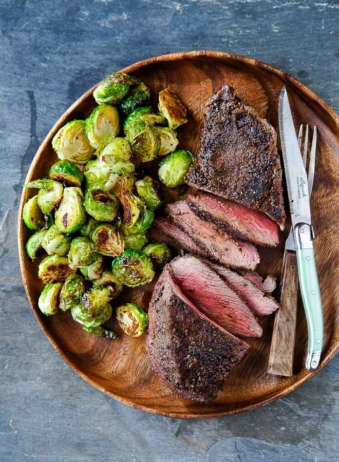 Easy cast iron skillet steaks with Cowboy rub and roasted Brussels sprouts
