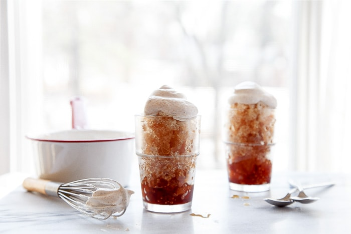 Creamy coffee granita