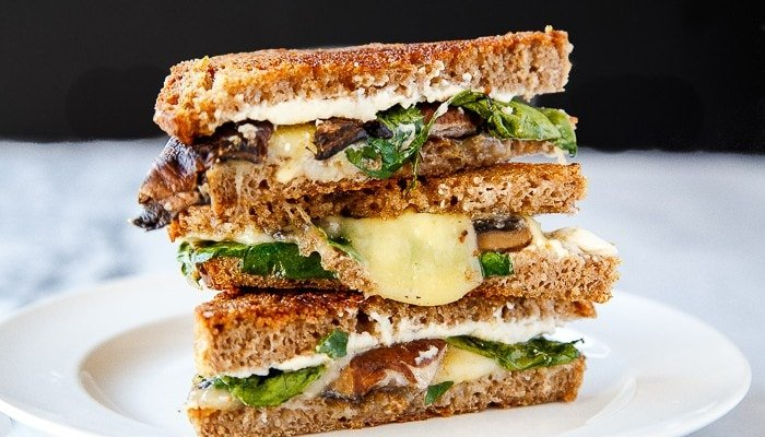 Dinner for Two: Stuffed Mushroom Grilled Cheese