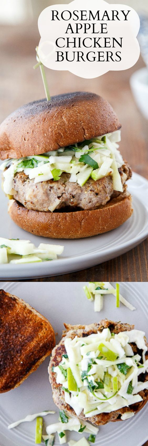 Ground chicken burgers with apple and rosemary, plus an apple slaw on top! #chicken #groundchicken #chickenburger #applechicken #rosemarychicken #greenappleslaw #appleslaw