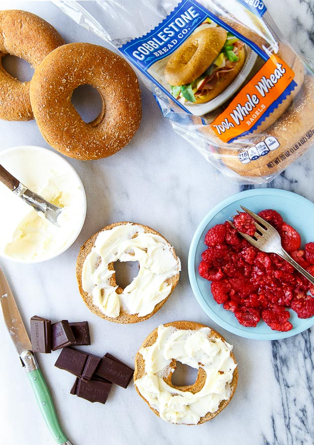 Raspberry Cheesecake Breakfast Bagels @dessertfortwo
