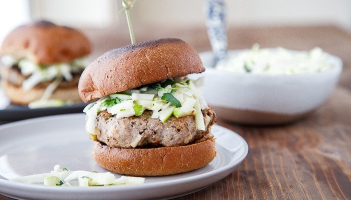 Dinner for Two: Rosemary-Apple Chicken Burgers + Slaw