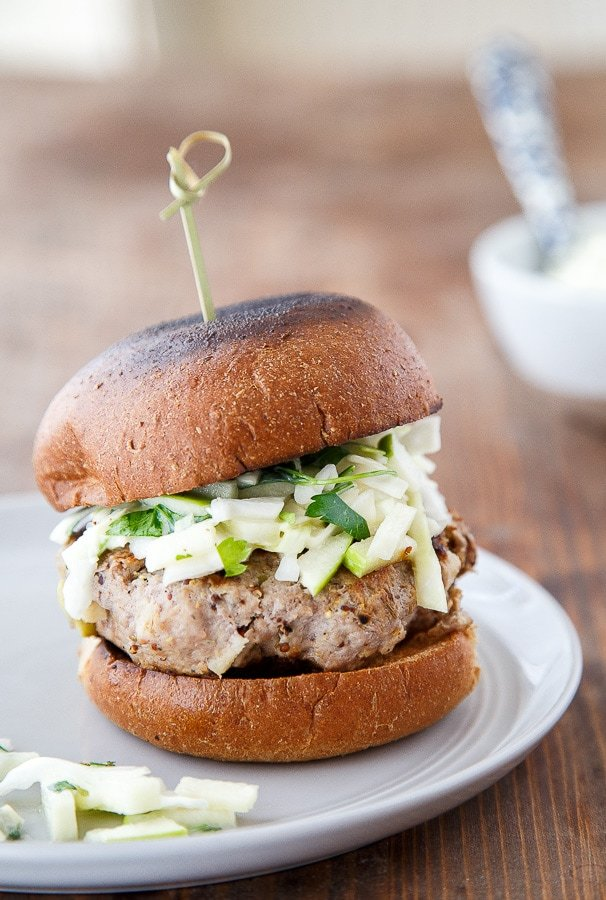 Rosemary Apple Chicken Burgers with Apple Slaw @dessertfortwo