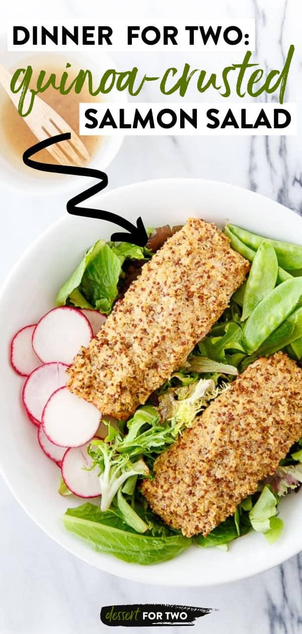 Quinoa crusted salmon over salad.