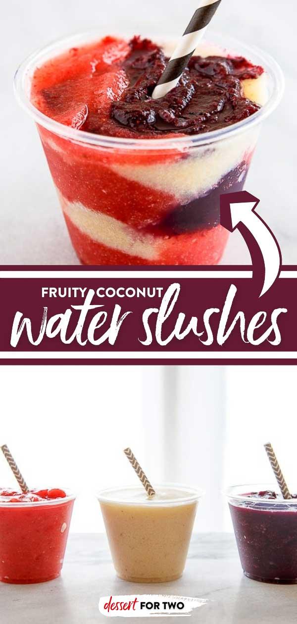 Coconut water slushies with fresh fruit.
