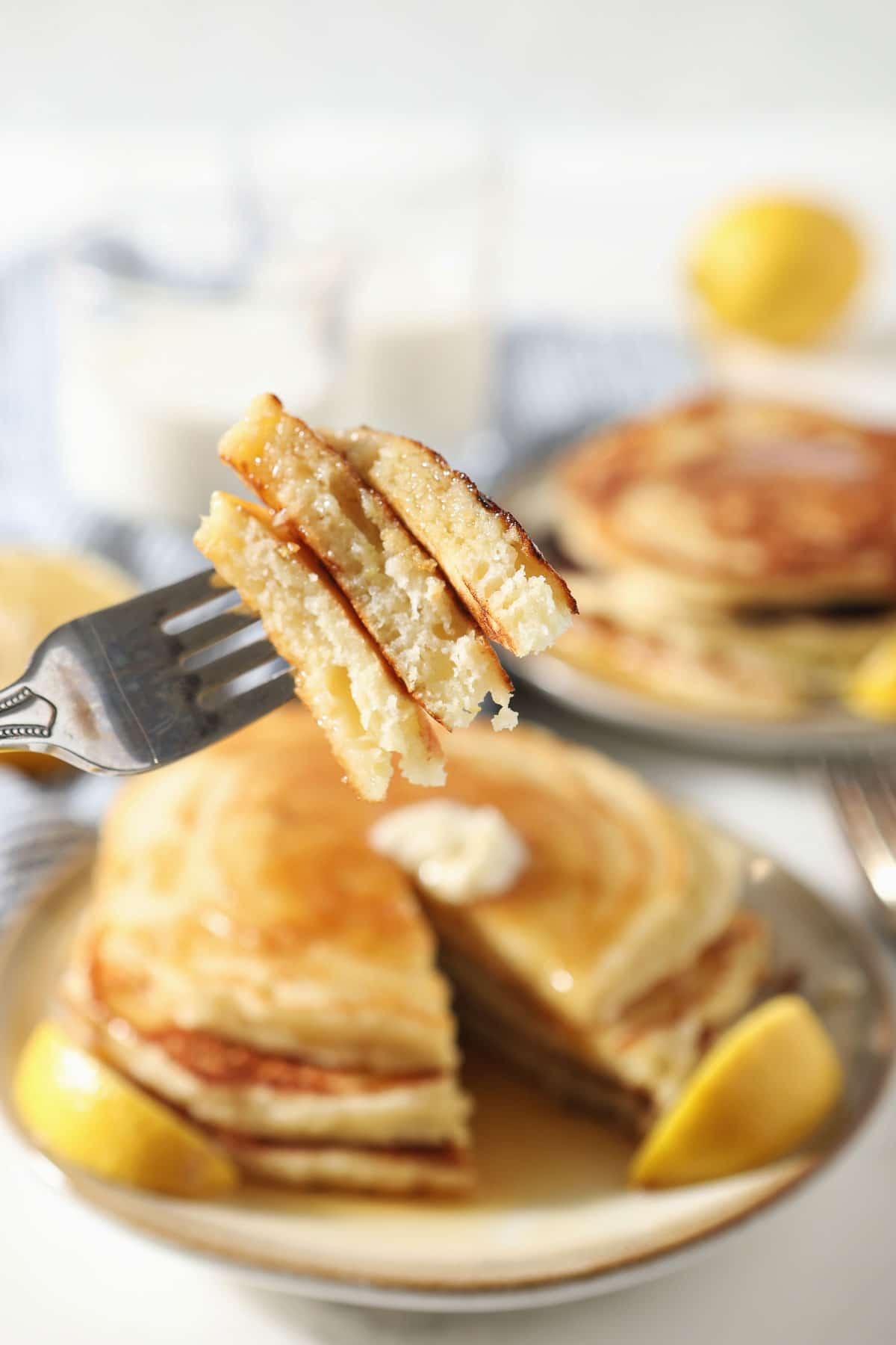 Pancake layers on fork.