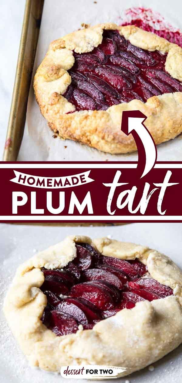Plum tart on baking sheet.