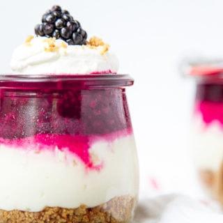 No Bake Blackberry Cheesecake in Jars