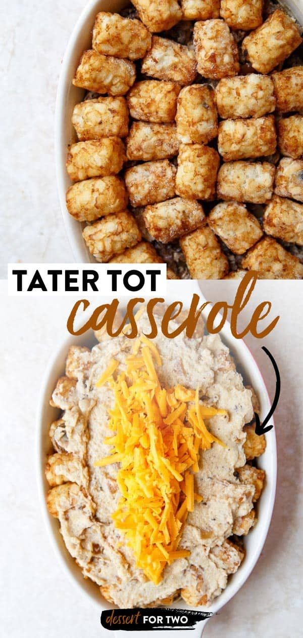 Small batch tater tot casserole with ground beef.