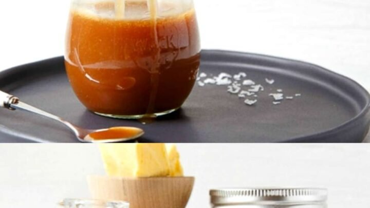 small jar of caramel sauce with ingredients pictured below