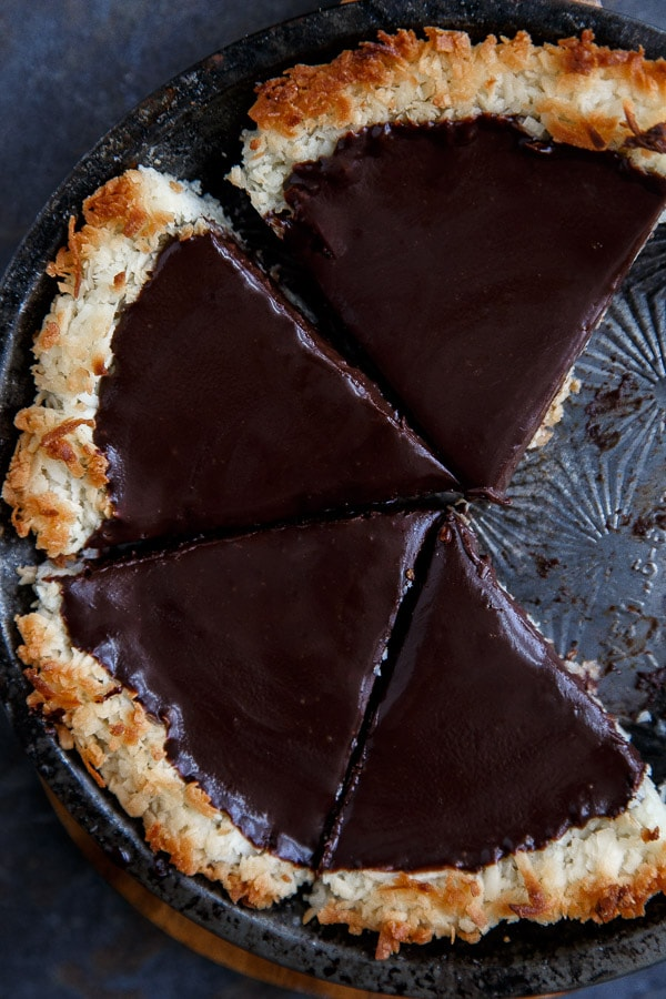 Gluten free chocolate coconut pie