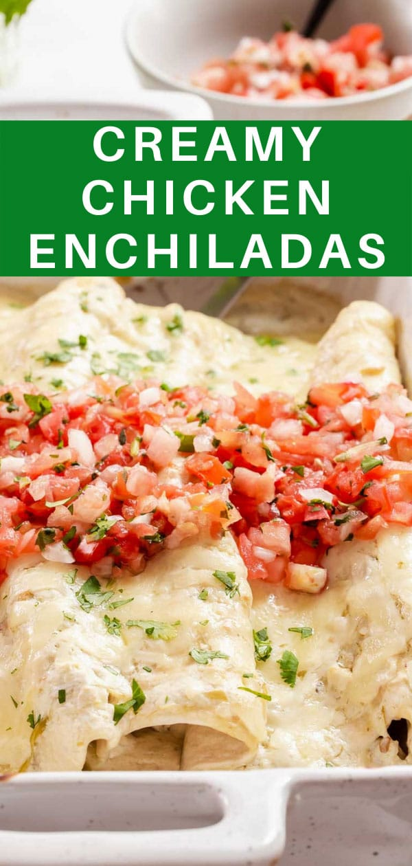 Creamy chicken enchiladas with 2-ingredient green chile sauce! Small batch enchiladas for two with salsa verde sour cream sauce! #cookingfortwo #enchiladas #chickenenchiladas #creamychickenenchiladas #greenchile #salsaverde