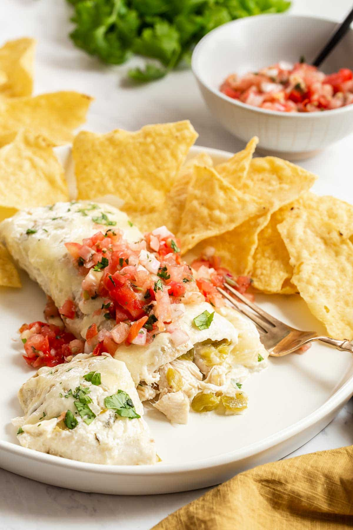 Creamy chicken enchiladas on plate with chips.