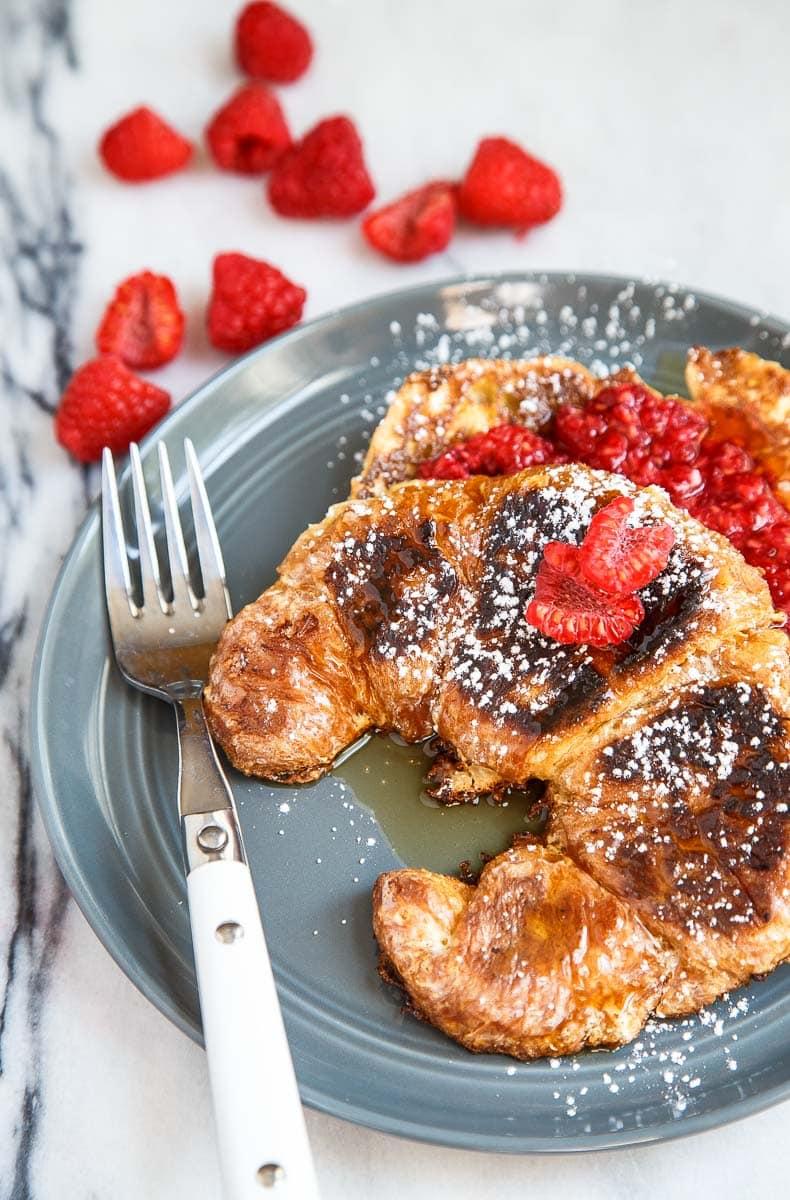 Raspberry Caramel Croissant French Toast