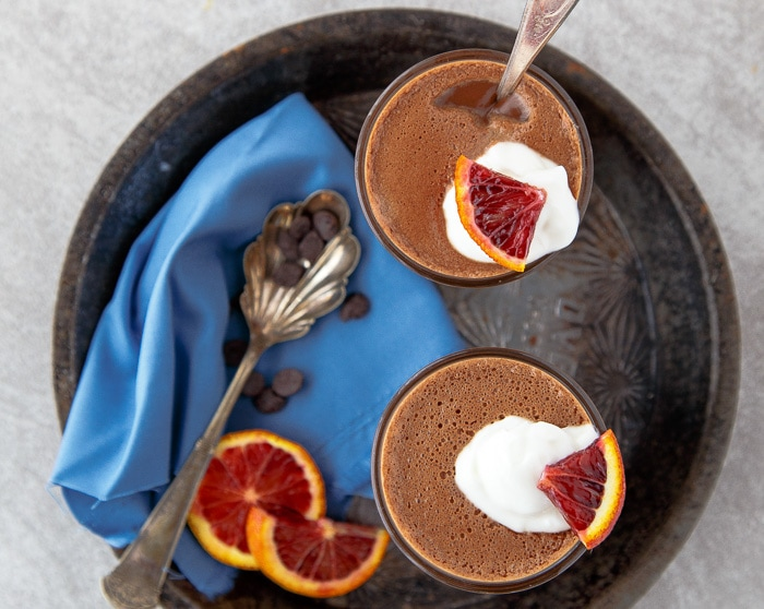 Easy, no-bake, no cooking required chocolate pudding for two