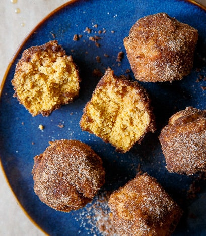 Baked pumpkin donut holes, small batch
