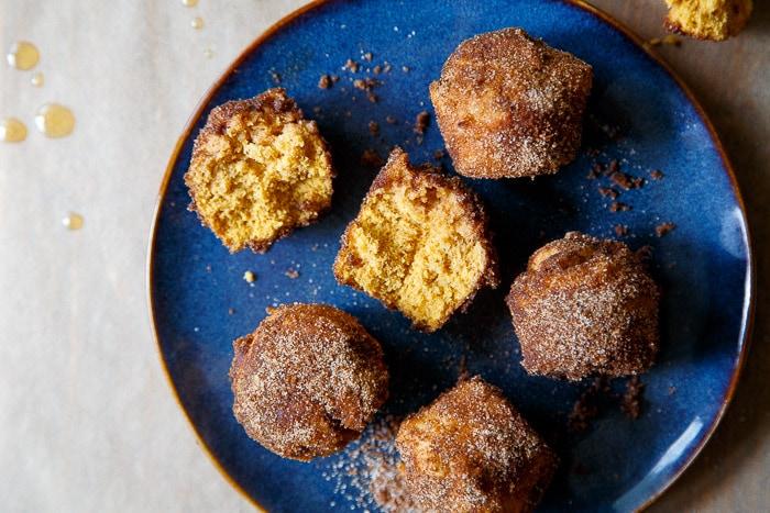 Baked pumpkin donut holes, small batch