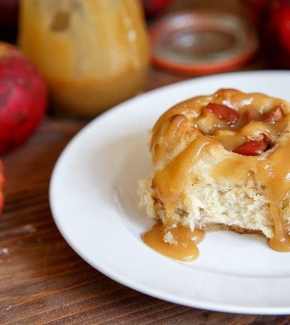 Small batch apple cinnamon rolls with caramel sauce