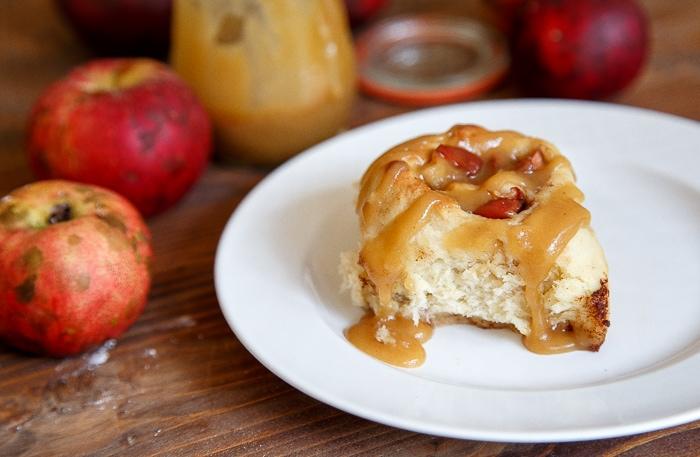Small batch apple cinnamon rolls with caramel sauce