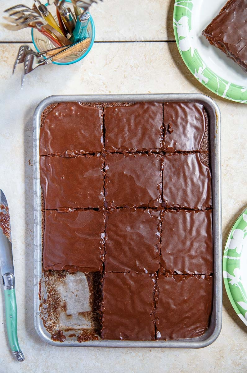 Chocolate Sheet Cake, small batch recipe