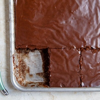 Half of Pioneer Woman's Chocolate Sheet Cake