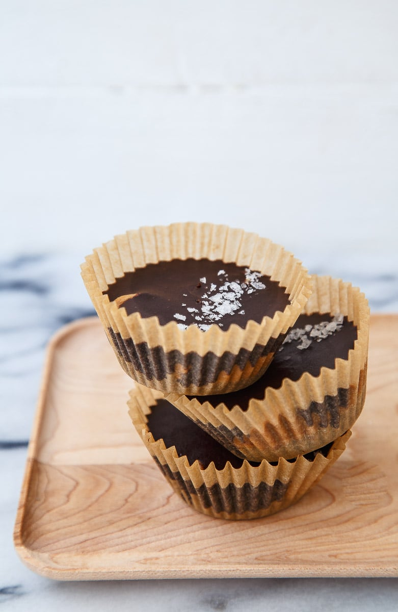 Homemade peanut butter cups with DIY healthy chocolate!