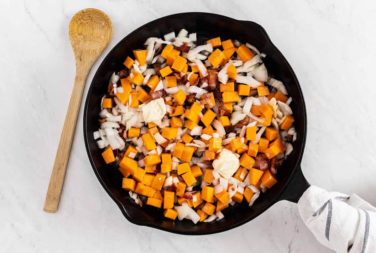 Butternut squash and bacon pieces.