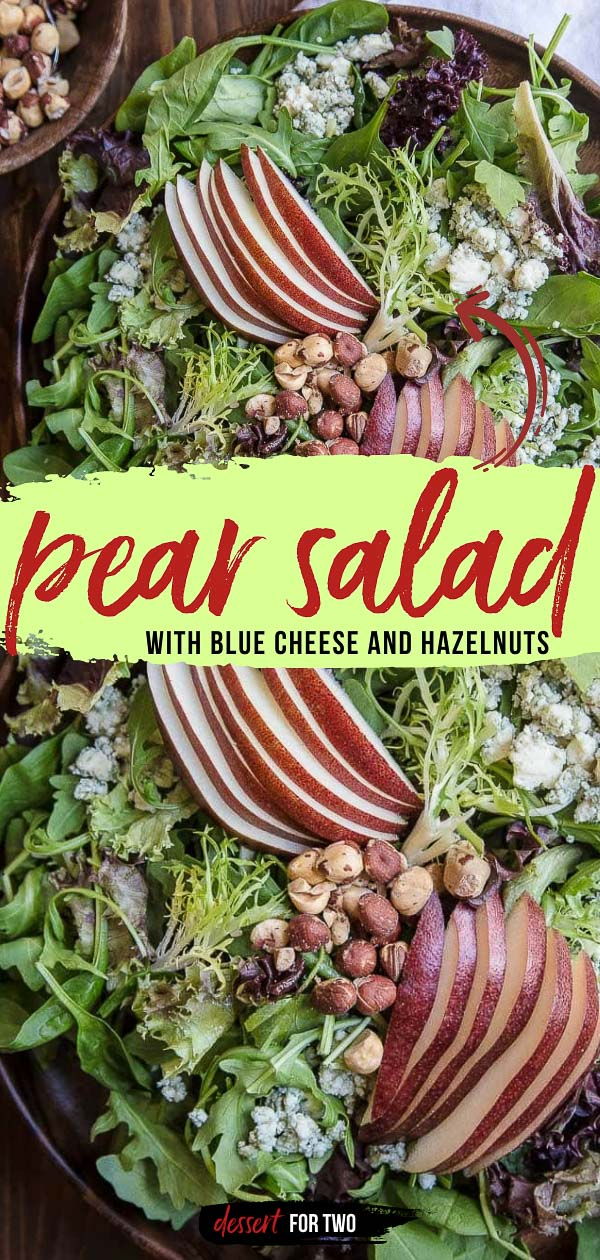 Pear salad recipe with blue cheese and salty hazelnuts. The best Fall chopped salad! All the flavors of Fall in this Autumn salad recipe. #thanksgiving #sidedish #salad #fallsalad #pearsalad #pearbluecheese #bluecheese #pear #hazelnuts