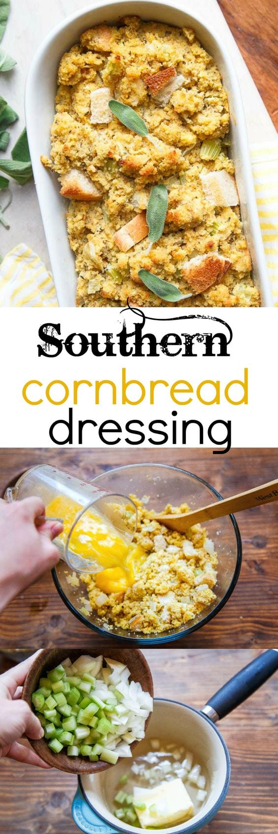 Southern cornbread dressing. This is the only dressing recipe you need! Made with crumbled cornbread, white bread cubes, and plenty of spices! It's based on a Southern Living recipe! #cornbread #cornbreaddressing #thanksgiving #thanksgivingside #sidedish #thanksgivingsidedish #southern