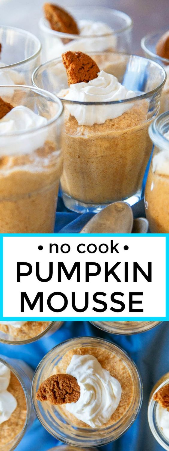 Pumpkin mousse recipe. No cook, easy recipe with step by step photo instructions.