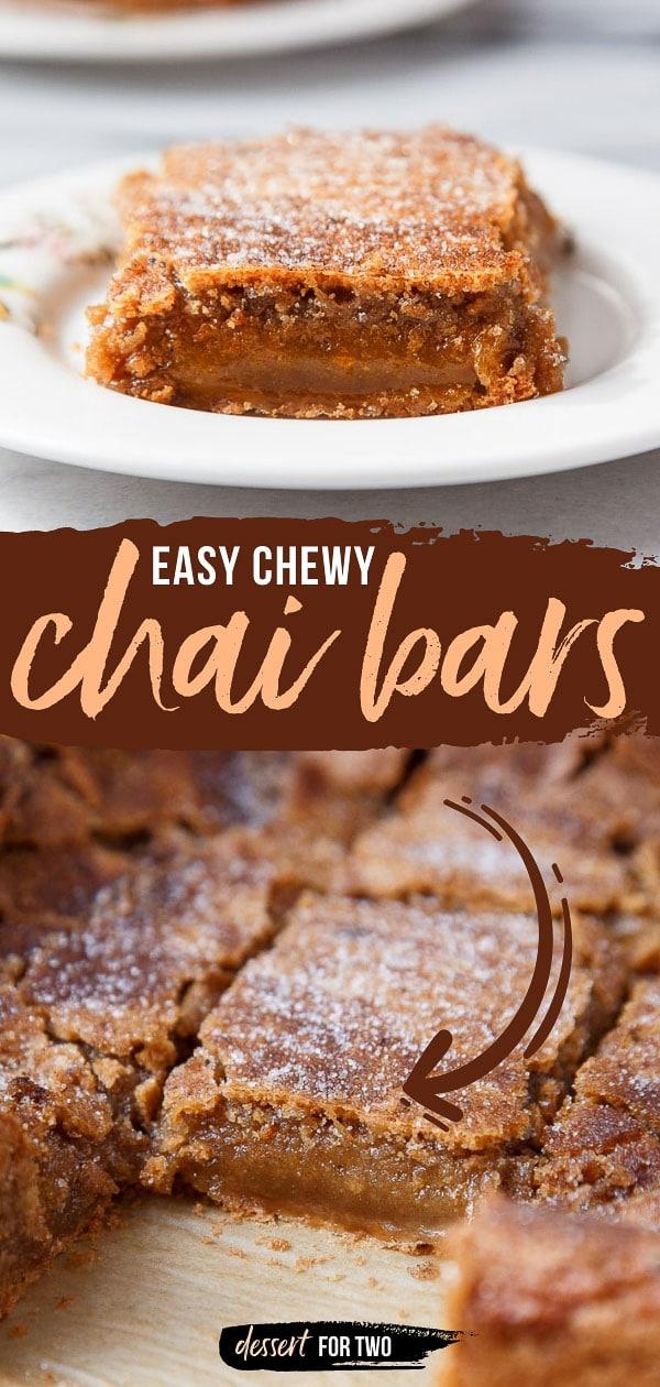 Chai cookies recipe. Ooey gooey chai blondies with a sugar crust and gooey center. #chaicookies #chai #holidaycookies #holidaybaking #chaispice #masalachai #chaitea #chaidessert