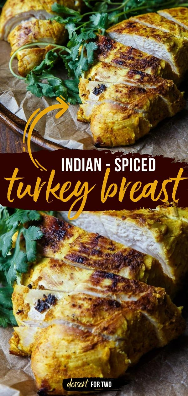 Spiced turkey breast baked in the oven.