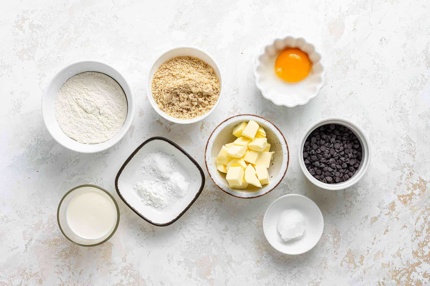 Ingredients for hazelnut meal cookies.