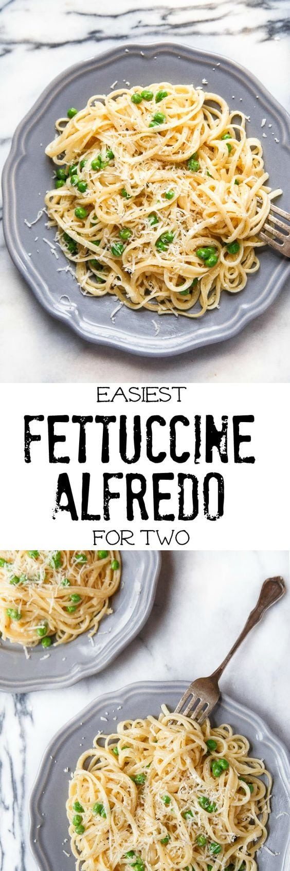 Easy fettuccine alfredo for two that you can make at home in just 20 minutes. Your next romantic dinner date night at home. #fettuccinealfredo #dinnerfortwo #romanticdinner #mealsfortwo #cookingfortwo #datenightdinners #datenightmeals #pasta #alfredo #alfredosauce