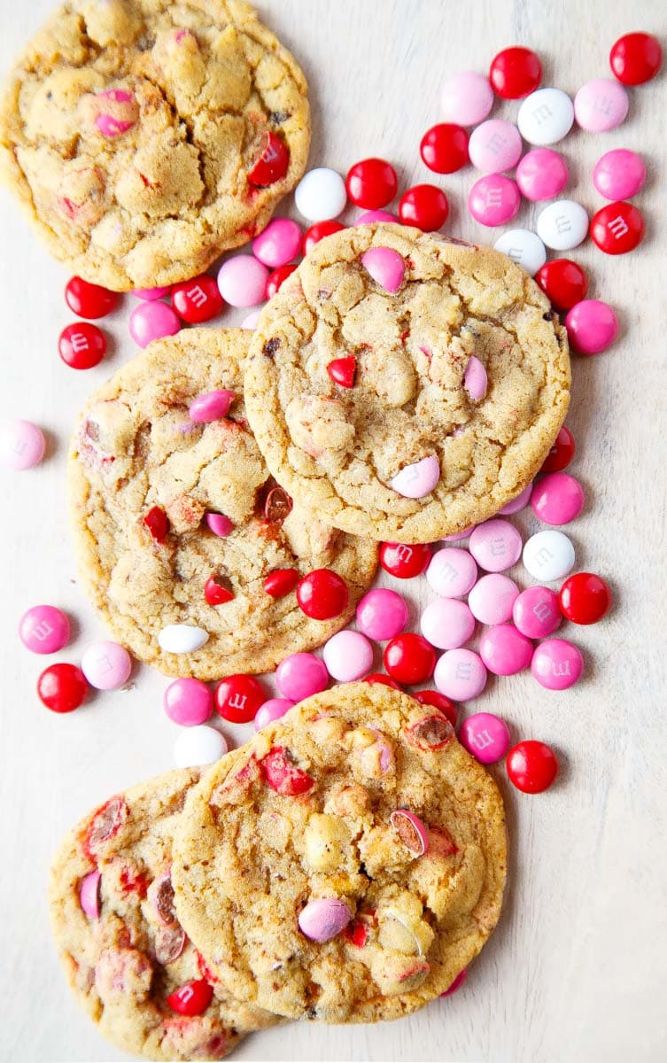 Valentine's Day dessert for two: m&m cookies.