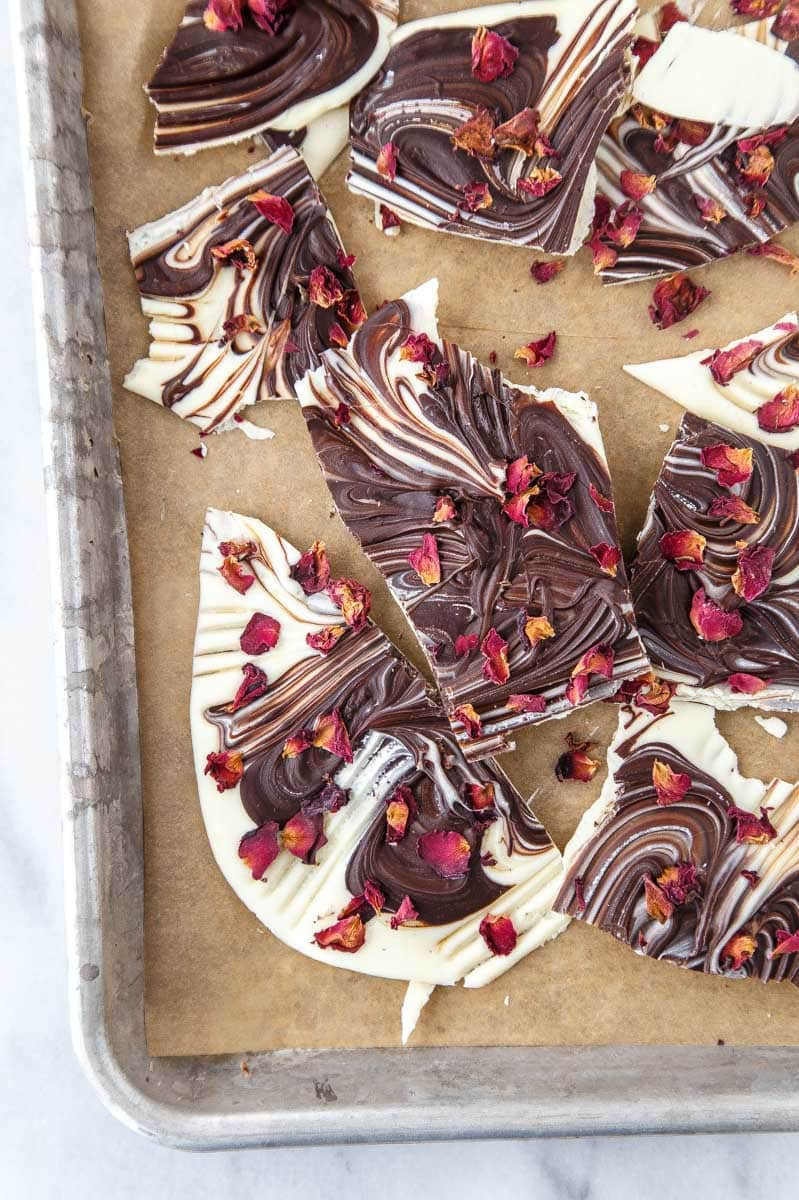 Rose Petal Chocolate Bark