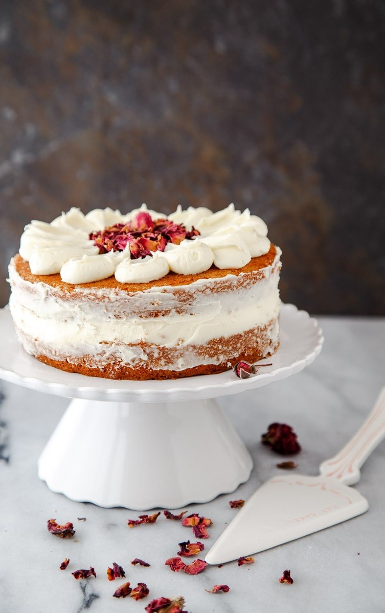 Mini Cake for Two: White Chocolate Rose Petal Layer Cake